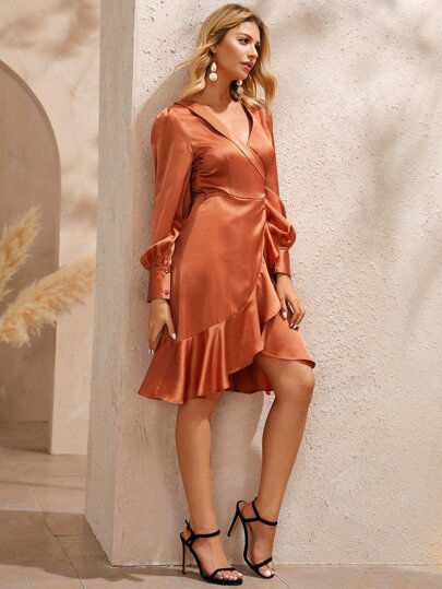 Solid Ruffle Satin Surplice Wrap Dress