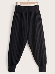 Elastic Waist Pleated Carrot Sweater Pants