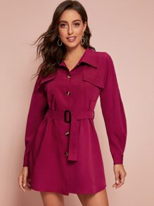 Solid Button Front Belted Military Coat