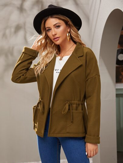 Solid Drawstring Waist Lapel Collar Coat