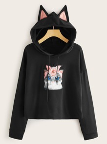 Cartoon Print Drawstring 3D Cat Ears Design Hoodie
