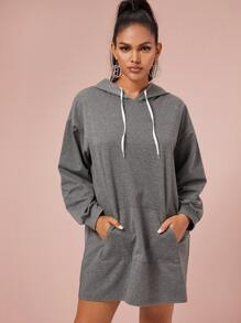 Kangaroo Pocket Drawstring Hooded Sweatshirt Dress