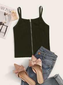 Solid Zip Up Ribbed Cami Top
