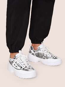 Lace-up Front Snakeskin Print Chunky Sneakers