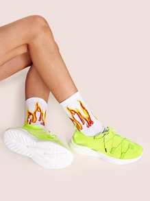 Neon Lace Up Chunky Sneakers