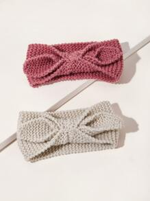 2pcs Bow Tie Decor Knit Headband
