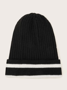 Striped Pattern Cuffed Beanie