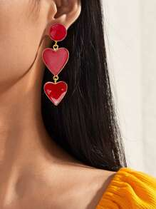 1pair Heart Drop Earrings