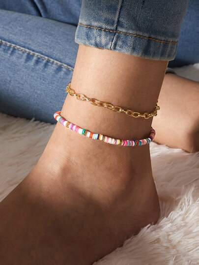 2pcs Beaded Ankle Chain