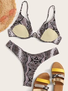 Snakeskin Print Underwire Top With High Cut Bikini