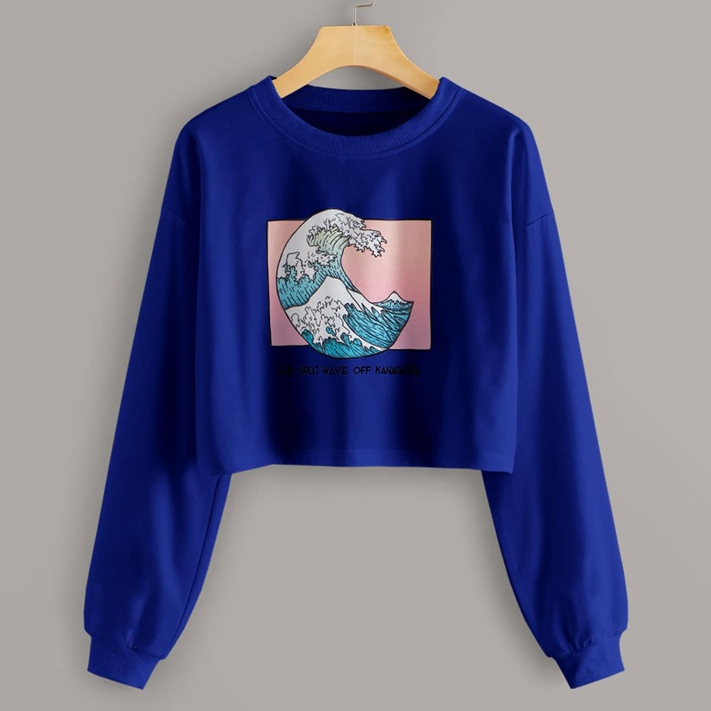 Sea Wave & Letter Graphic Crop Sweatshirt, Blue bright