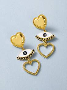 1pair Heart & Eye Drop Earrings