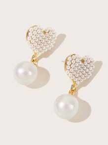 1pair Pearl Decor Drop Earrings
