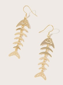 1pair Fish Bone Drop Earrings