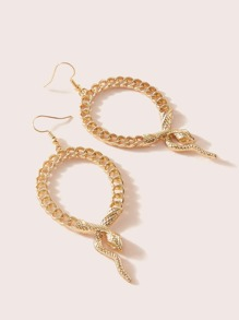 1pair Snake & Chain Drop Earrings