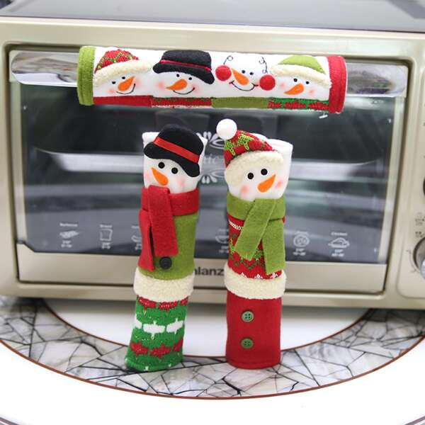3pcs Christmas Ornament Fridge Handle Cover, Multicolor