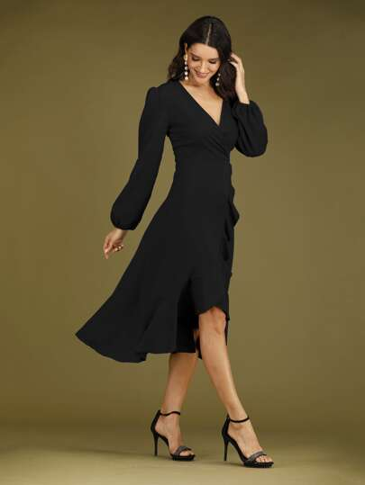 Surplice Neck Ruffle Wrap A-line Dress