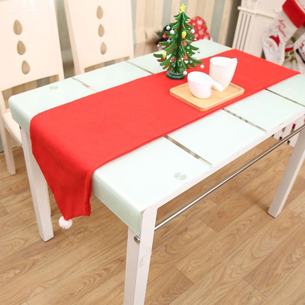 1pc Christmas Ornament Table Runner, Red