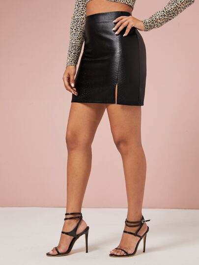 Split Front Faux Leather Bodycon Skirt