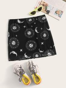 Sun & Moon Print Lettuce Trim Straight Skirt