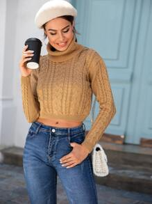 Solid Cable-knit High Neck Jumper