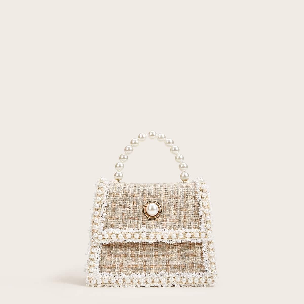 Твидовая сумка с жемчугами