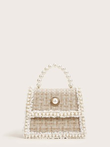 Faux Pearl Decor Tweed Satchel Bag