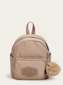 Mini Pom Pom Decor Pocket Front Backpack