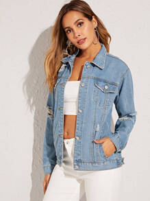 Washed Ripped Denim Trucker Jacket
