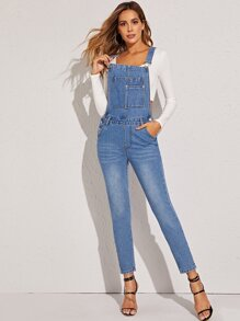 Cat Whiskers Pocket Front Denim Overall