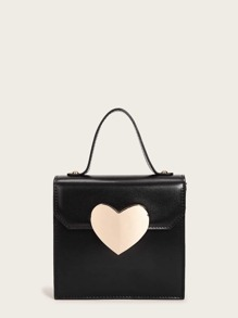 Metal Heart Decor Satchel Bag