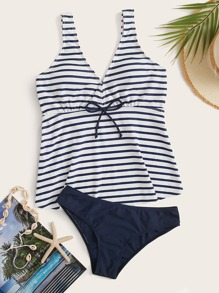 Striped Top With Panty Tankini