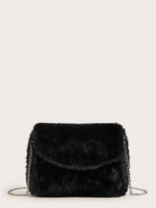 Fluffy Flap Chain Crossbody Bag