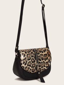 Zip Up Decor Leopard Crossbody Bag