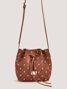 Embroidered Bucket Bag With Drawstring
