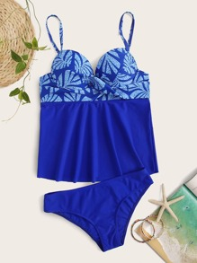 Palm Print Underwire Tankini Set