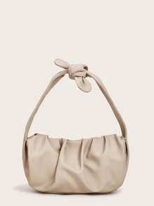 Ruched Detail Knotted Strap Tote Bag