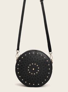Studded Decor Hollow Out Crossbody Bag