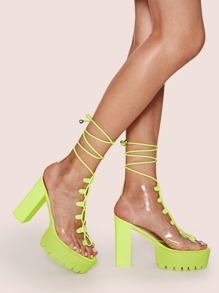 Neon Lime Lace-up Front Chunky Heels