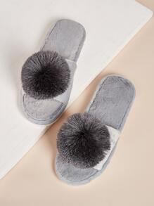 Pom Pom Decor Fluffy Slippers