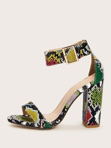 Two Part Ankle Strap Snakeskin Chunky Heels