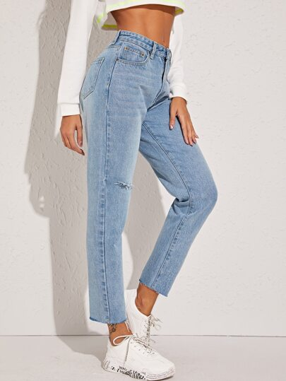 Ripped Raw Hem Mom Jeans
