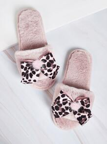 Leopard Bow Decor Fluffy Slippers