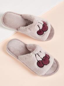 Fruit Embroidered Fluffy Slippers