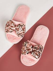 Contrast Sequins Bow Decor Slippers