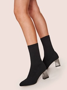 Point Toe Chunky Heeled Sock Boots