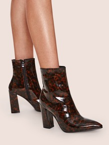 Tortoiseshell Point Toe Chunky Boots