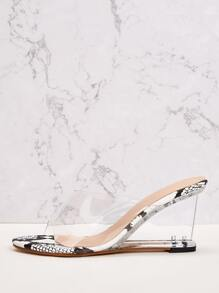 Snakeskin Panel Clear Wedges Mules