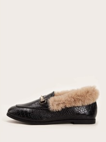 Croc Embossed Contrast Faux Fur Snaffle Decor Loafers