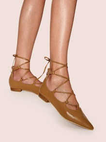 Lace-up Front Ghillie Flats